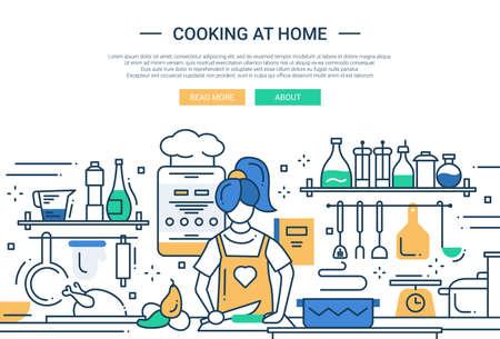cooker: Illustration of vector modern line flat design website banner, header with a girl cooking at home