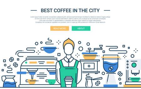 벡터 현대 라인 평면 디자인 웹 사이트 배너의 그림, 커피 숍에서 전문 바리 스타와 헤더 일러스트