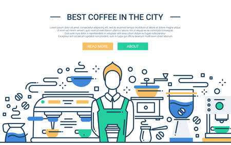 Illustration of vector modern line flat design website banner, header with professional barista in coffee shop
