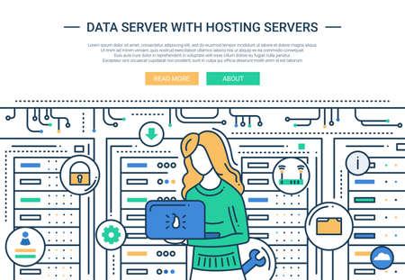 it girl: Illustration of vector modern line flat design website banner, header with an IT girl working in communication room Illustration
