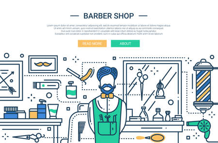 barbery: Illustration of vector modern line flat design website banner, header with professional barber and barbery tools