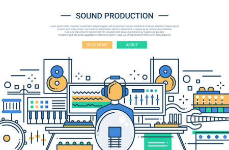 producer: Illustration of vector modern line flat design website banner, header with a sound producer at work among different music equipment