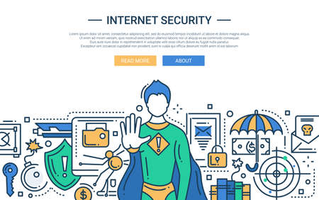 Illustration of vector modern line flat design website banner, header with internet security super hero protecting the network Illustration
