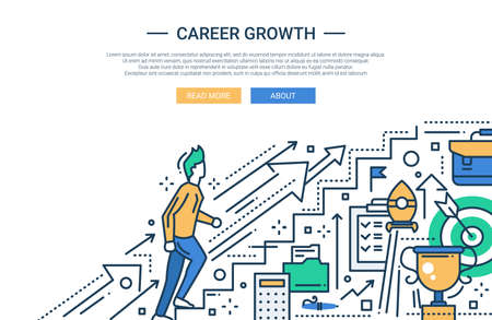 way up: Illustration of vector modern line flat design business composition and infographics elements with a male working his way up the career ladder