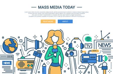 Illustrazione di vettore linea moderna design piatto sito web banner, intestazione con una ragazza giornalista e simboli mass media Vettoriali