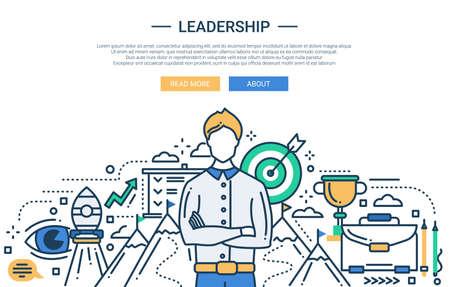 벡터 현대 선 평면 디자인의 그림 사업 조성 및 infographics 요소는 남성 리더와 사업 목표 기호