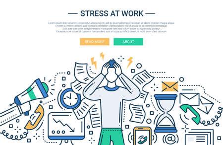 Illustratie van vector moderne lijn platte ontwerp zakelijke samenstelling en infographics elementen met een man met stress op het werk Vector Illustratie