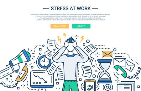 work stress: Illustration of vector modern line flat design business composition and infographics elements with a male having stress at work Illustration