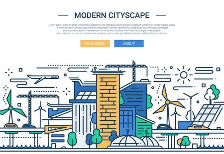 Illustration de bannière de site Web de vecteur ligne design plat moderne, en-tête avec paysage urbain moderne