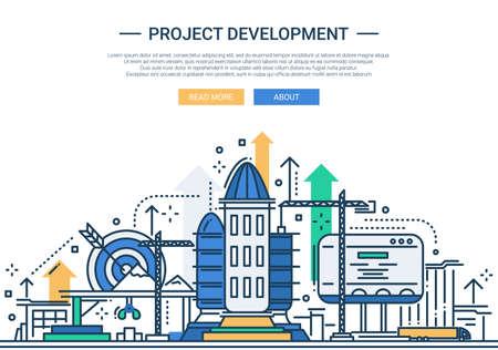 business buildings: Illustration of vector modern line flat design website banner, header with a rocket construction scene
