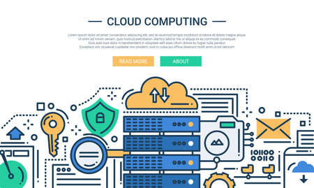 server technology: Illustration of vector modern line flat design website banner, header with, server and cloud computing technology symbols