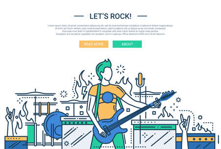 guy playing guitar: Illustration of vector modern line flat design website banner, header with male playing the electro guitar Illustration