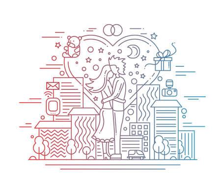 Illustration de vecteur ligne moderne plat amour de la conception et de la composition de proposition de mariage avec des éléments de paysage urbain et des infographies - couleur gradient Vecteurs