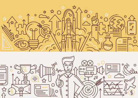 liftoff: Illustration of vector modern start up, marketing success line flat design composition and infographics elements with a shuttle launch scene, a happy successful man with promotion tools. Header, banner for your website