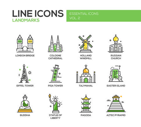 cologne: Set of modern vector line design icons and pictograms of world famous landmarks. Illustration