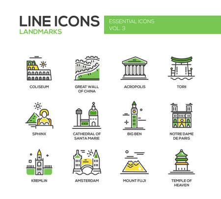 acropolis: Set of modern vector line design icons and pictograms of world famous landmarks. Coliseum, Sphinx, Torii, Acropolis, Great Wall, Santa Marie Cathedral, Big Ben, Notre Dame, Fuji, Temple of Heaven, Kremlin, Amsterdam