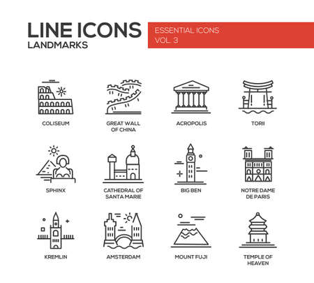 travelling: Set of modern vector simple plain line design icons and pictograms of world famous landmarks. Coliseum, Sphinx, Torii, Acropolis, Great Wall, Santa Marie Cathedral, Big Ben, Notre Dame, Fuji, Temple of Heaven, Kremlin, Amsterdam