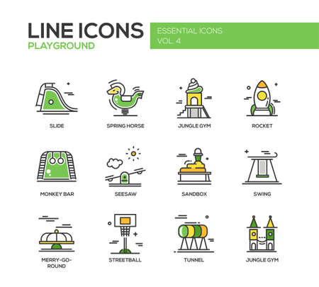 children playground: Set of modern vector line design icons and pictograms of children playground.