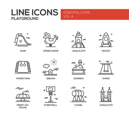 Set van moderne vector eenvoudige duidelijke lijn design iconen en pictogrammen van de speeltuin. Slide, de lente paard, klimrek, raket, aap bar, seasaw, zandbak, schommel, merry-go-round, streetball, tunnel