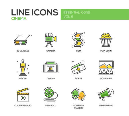 hobbies: Set of modern vector line design icons and pictograms of cinema and movie production.