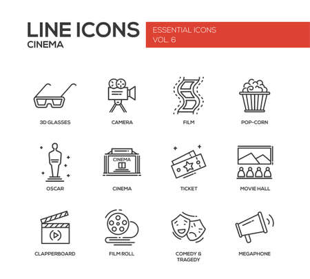 movie production: Set of modern vector simple plain line design icons and pictograms of cinema and movie production.