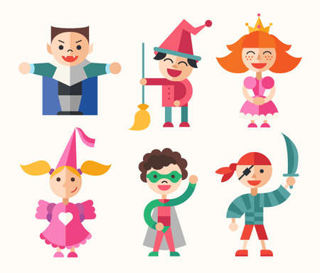role play: Children in holiday, party, carnival costumes - modern vector flat design characters set.