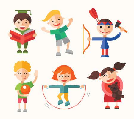 hobbies: Children and their hobbies and activities - modern vector flat design characters set.