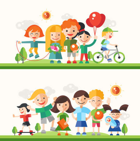 hobbies: Children and their hobbies and activities - modern vector flat design characters compositions set.