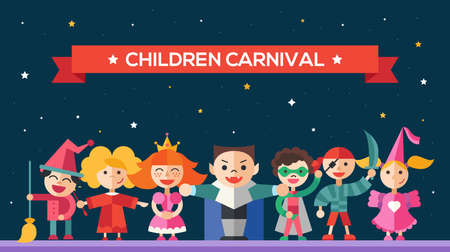 role play: Children in holiday, party, carnival costumes - modern vector flat design website banner, header with kids characters.