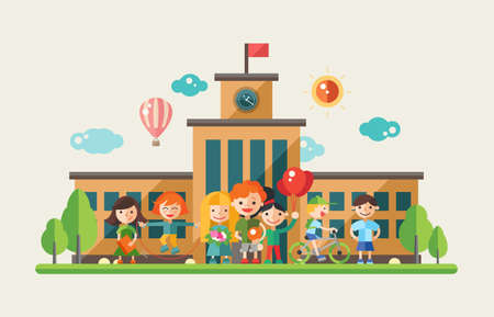 attività per bambini a scuola-moderno design piatto vettore web banner, intestazione con caratteri bambini. Vettoriali
