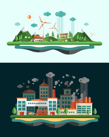wasted: Set of modern vector flat design conceptual ecological illustrations, banners set with icons and infographics elements. Wasted and green landscapes