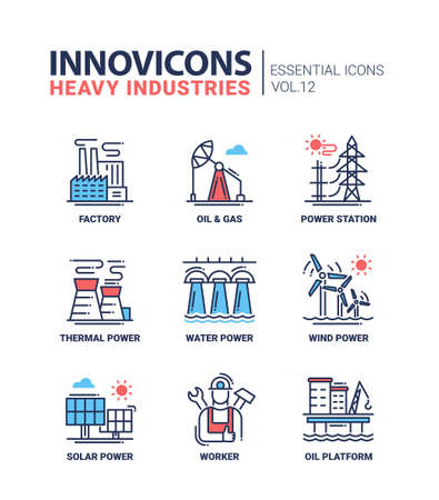 power station: Set of modern vector heavy industry line flat design icons and pictograms,  infographics objects and web elements