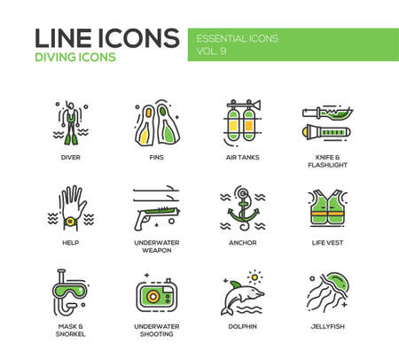 scubadiving: Set of modern vector line design icons and pictograms of scuba diving objects and equipment.