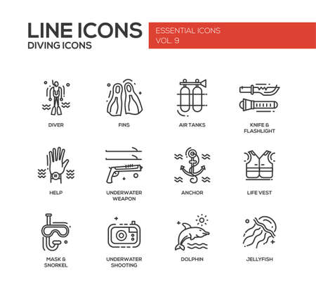 objects equipment: Set of modern vector simple plain line design icons and pictograms of scuba diving objects and equipment. Illustration