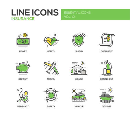 Set of modern vector line design icons and pictograms of types and kinds of insurance. Vetores