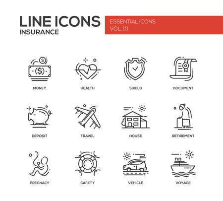 compulsory: Set of modern vector simple plain line design icons and pictograms of types and kinds of insurance. Health, money, document, shield, deposit, travel, house, retirement, pregnancy, safety, vehicle, voyage
