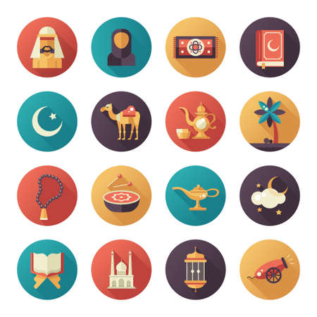 islamic prayer: Set of modern vector flat design circled icons of islamic holiday, culture. Muslim male, female, camel, cannon, mosque, prayer beads, lamp, drum