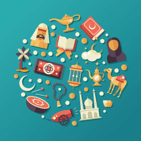 lampara magica: Vector moderno diseño plano círculo composición con los iconos de vacaciones islámico, la cultura. masculina islamista, mujer, camello, cañón, mezquita, rosarios, lámpara, tambor Vectores