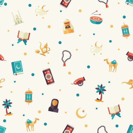 holiday prayer book: Set of modern vector flat design seamless tileable pattern with icons of islamic holiday, culture. Muslim male, female, camel, cannon, mosque, prayer beads, lamp, drum