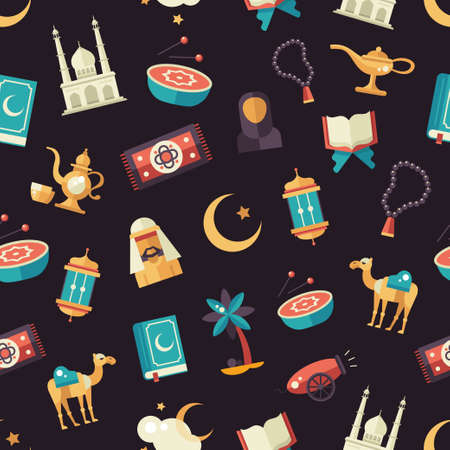 islamic prayer: Set of modern vector flat design seamless tileable pattern with icons of islamic holiday, culture. Muslim male, female, camel, cannon, mosque, prayer beads, lamp, drum