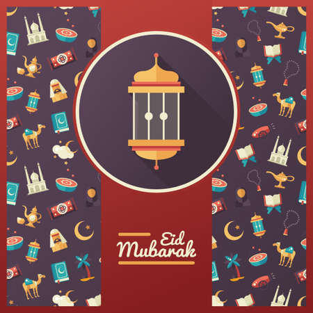 islamic prayer: Set of modern vector flat design postcard template with icons of islamic holiday, culture, traditional greeting Eid Mubarak. Muslim male, female, camel, cannon, mosque, prayer beads, lamp, drum