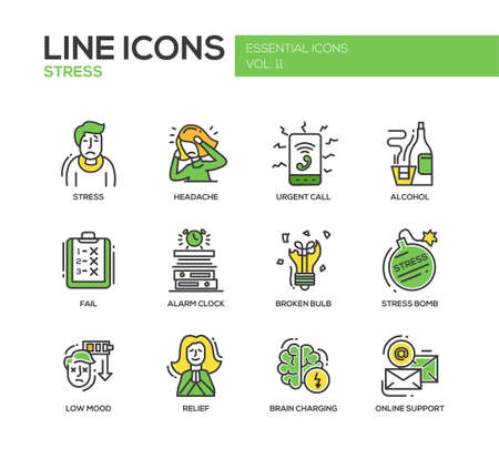 breakdown: Set of modern vector line design icons and pictograms of stress and nervous breakdown. Headache, urgent call, alcohol, fail, alarm clock, low mood, relief, online support