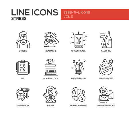 difficult situation: Set of modern vector plain line design icons and pictograms of stress and nervous breakdown. Headache, urgent call, alcohol, fail, alarm clock, low mood, relief, online support