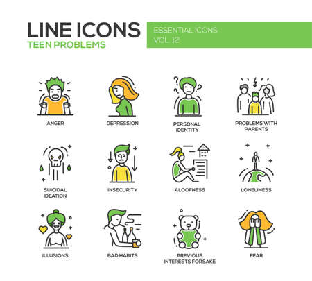 bad mood: Set of modern vector line design icons and pictograms of teenager problems.