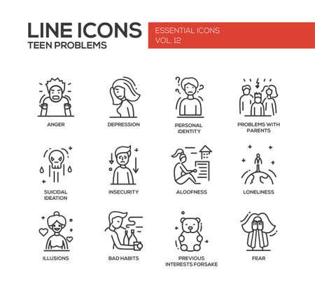 Set di moderni vettore di linea piana di design icone e pittogrammi di problemi adolescente. Archivio Fotografico - 57252779