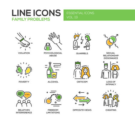 problemas familiares: Conjunto de iconos del diseño moderno de líneas de vector y pictogramas de los problemas familiares. Vectores