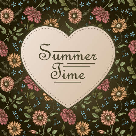 tileable: Summer time - modern vector postcard template with floral tileable background Illustration