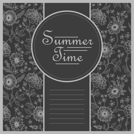 postcard template: Summer time - modern vector postcard template with floral tileable pattern on black background