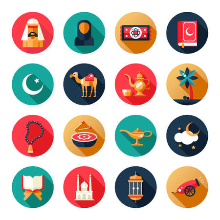 holiday prayer book: Set of modern flat design circled icons of islamic holiday, culture. Muslim male, female, camel, cannon, mosque, prayer beads, lamp, drum