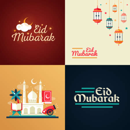 traditional culture: Set of modern flat design postcard templates set with icons of islamic holiday, culture, traditional greeting Eid Mubarak. Camel, cannon, mosque, prayer beads, lamp Illustration